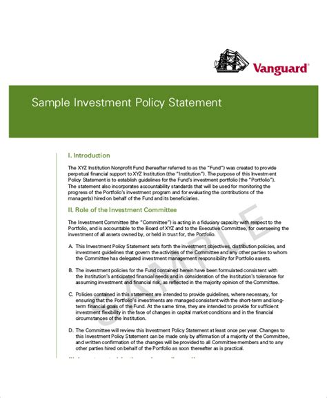 10 Sle Investment Policy Statements Sle Templates Foundation Investment Policy Statement Template
