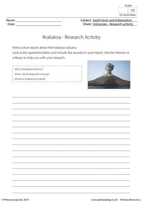 How The Earth Was Made Worksheet Answers by Research Activity Krakatoa Primaryleap Co Uk