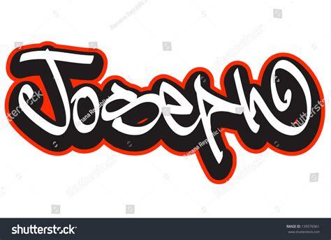 Joseph Graffiti Font Style Name Hiphop Stock Vector