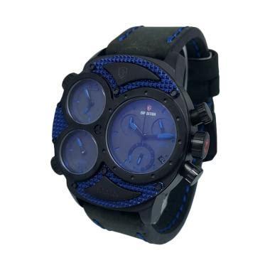 Terpopuler Transparan Biru Hitam jual expedition 140286 chronograph tali kulit jam tangan pria hitam biru harga
