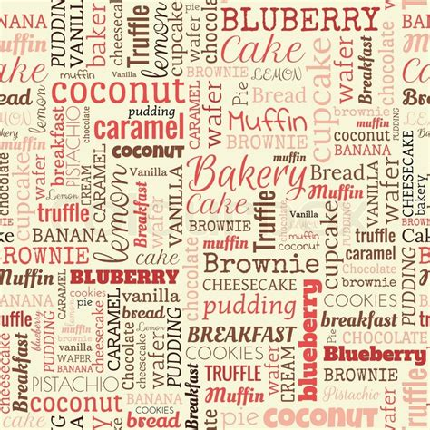 words pattern background bakery words tags seamless pattern on the beige