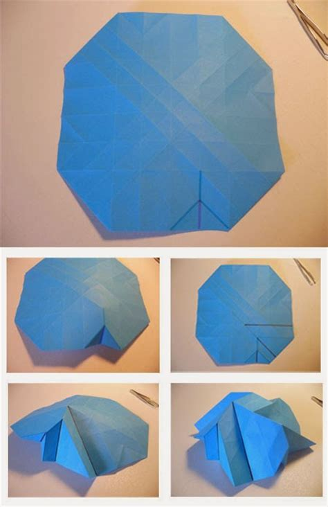 Origami Bunga Ros - cara membuat origami bunga mawar biru tutorial kerajinan