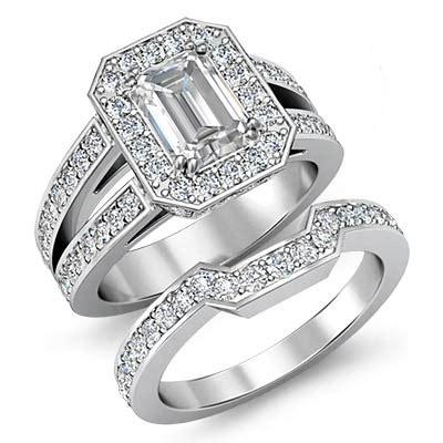 emerald cut bridal set pave engagement ring i