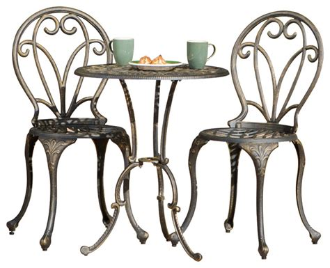 GDFStudio Windsor 3 Piece Bistro Set, Dark Gold & Reviews Houzz