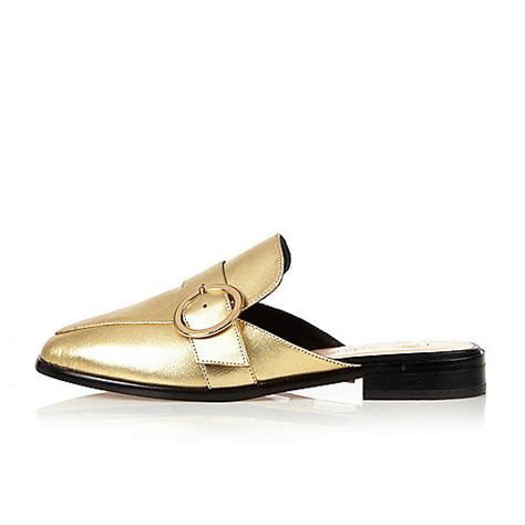 backless loafers womens gold leather backless loafers ri limited edition sale