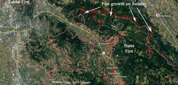 map showing growth on northern end of nuns wildfire