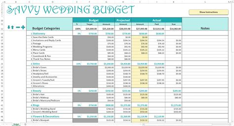 Smart Wedding Budget   Excel Template   Savvy Spreadsheets