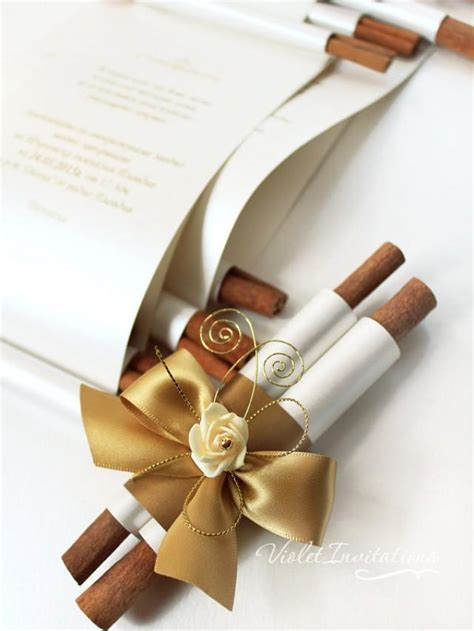 Unique Scroll Wedding Invitations by Handmade Gold Ivory Wedding Scroll Invitation Sle