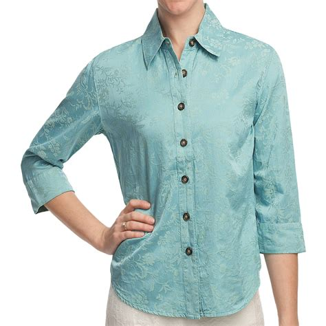 jacquard sleeve shirt pulp silk cotton jacquard shirt 3 4 sleeve for