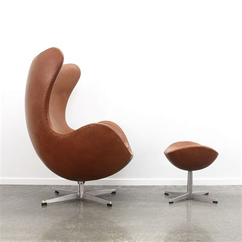 Egg Chair Ottoman by Arne Jacobsen Egg Chair Ottoman In Cognac Leather 1971