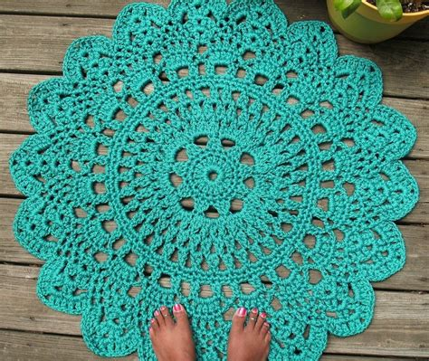 crochet rug crafted turquoise patio porch cord crochet rug in 35 quot pineapple pattern by bycamilledesigns