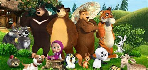 gambar animasi kartun masha   bear  temannya