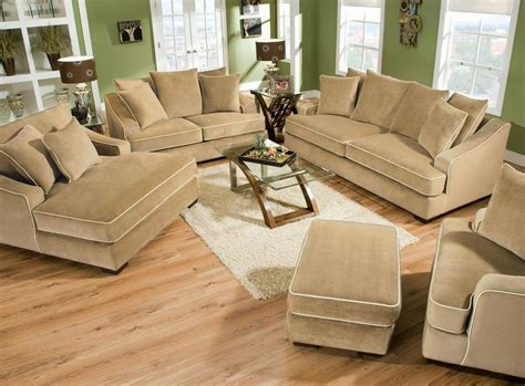 light brown velvet depp sectional sofa with ottoman and