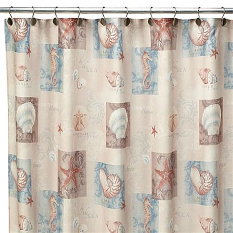 ocean curtains ocean shell 70 inch w x 72 inch l fabric shower curtain