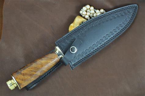 Handcrafted Bowie Knives - handcrafted bowie knife 440c steel burl wood t1 perkin