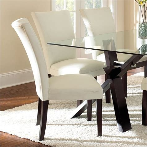 White Leather Parsons Dining Chairs Steve Silver Company Berkley Bonded Leather Parsons Dining Chair White Ebay