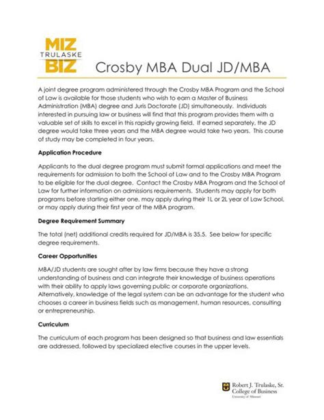 Professional Degree List Mba Jd by Crosby Mba Viewbook 2016 17 By Crosby Flipsnack