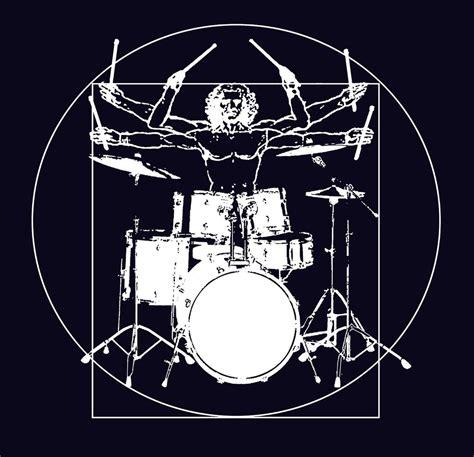 Black Tshirt Drum Set drummer vitruvian t shirt drum set print t