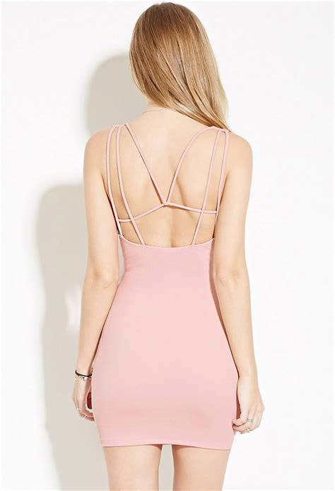Strappy Bodycon Dress Forever 21 forever 21 strappy back bodycon mini dress in pink lyst