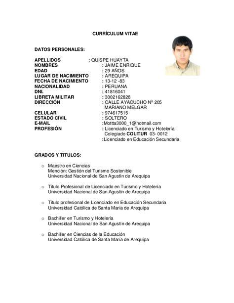Modelo De Curriculum Para Trabajo Peru Cv Mgtr Jaime Enrique Quispe Huayta