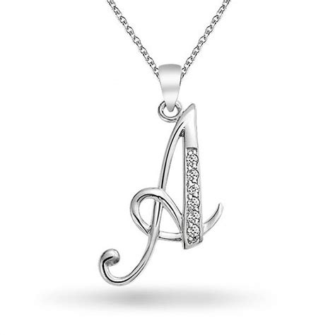 Inisial A 925 silver rhodium plated cz cursive initial letter