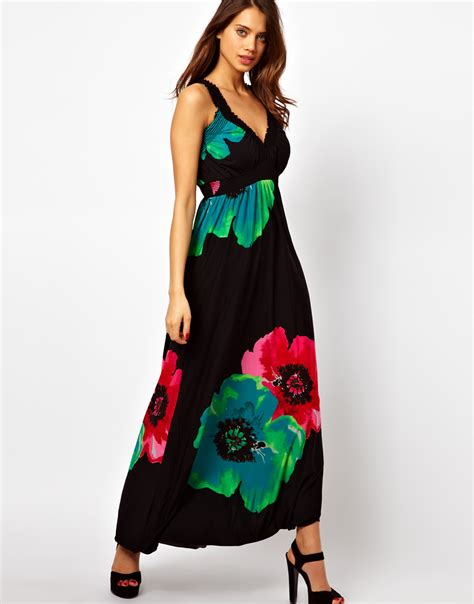 Teresa Flowery Maxi Dress lyst ax floral maxi dress in black