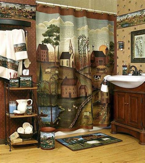 country bathroom shower curtains love this country primitive shower curtain pinterest