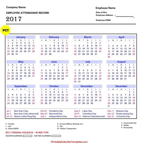 Staff Calendar Template by Free Employee Attendance Calendars Calendar Template 2016