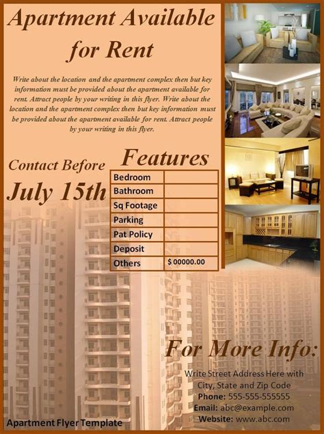 Apartment For Rent Flyer Template