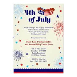 4th of july bbq picnic invitation