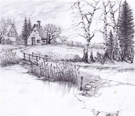 Nature Pencil Drawing Easy