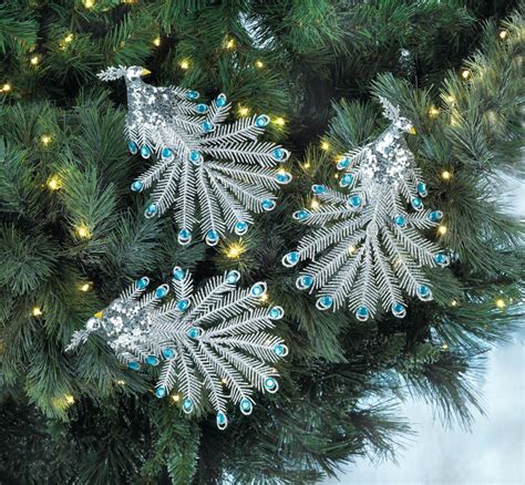 peacock christmas ornaments cheap blue gem peacock ornament set wholesale at koehler home decor