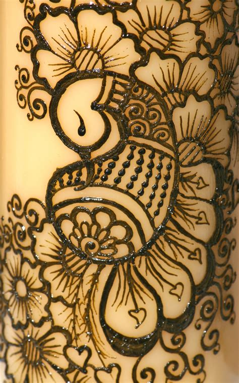 henna peacock candle yellow pillar candle intricate henna