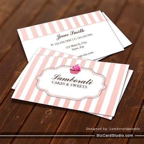 business card templates studio cupcake bakery pink cute