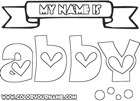 coloring pages of the name abby abby coloring page hearts