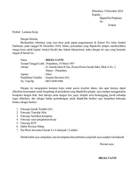 Contoh Surat Lamaran Pekerjaan Yang Ada Kop by Contoh Surat Lamaran Kerja Yang Bagus Dan Betul