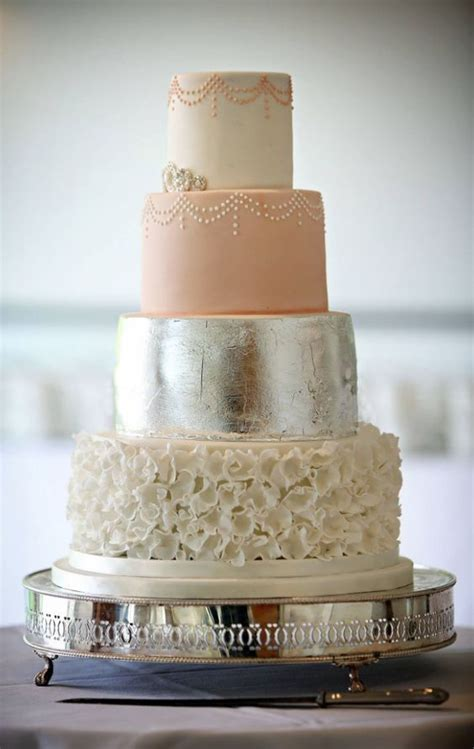 Peach, White Textured and Silver Wedding Cake   wedding