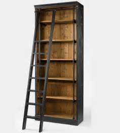 Wood Ladder Bookcase library bookcase with ladder in matte black zin home