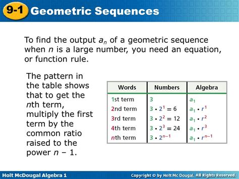 rule pattern syntax 9 1 geometric sequences warm up lesson presentation lesson