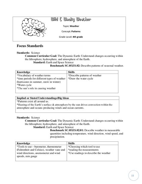 fourth grade weather activities resume cover letter