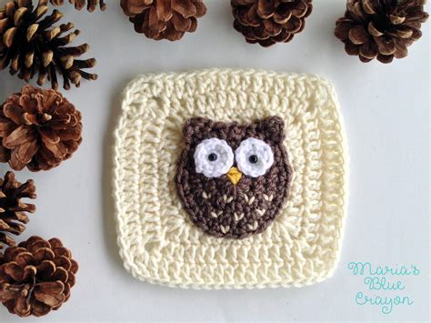 free printable crochet owl pattern woodland owl granny square allfreecrochet com