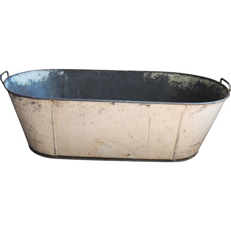 tin bathtub antique primitive toleware child s baby tin tole bath tub