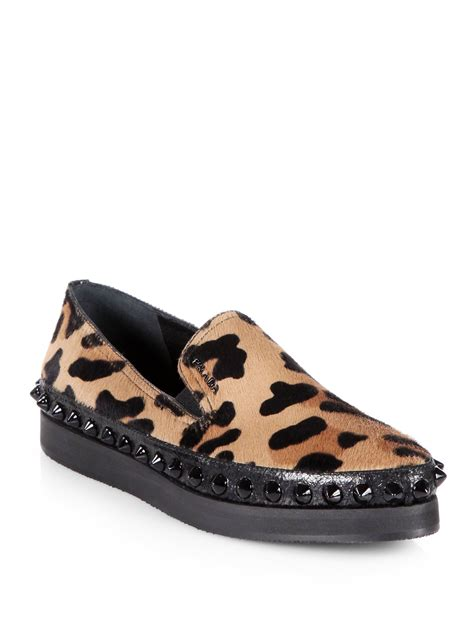 leopard loafers for prada leopardprint calf hair studded platform loafers in