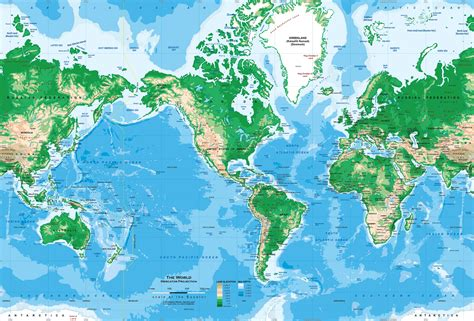 topographic map of the world world topography map wall mural miller projection