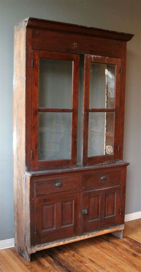 Antique Farm Stepback Built in Cupboard Kitchen Cabinet Pantry Wavy G