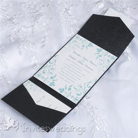 Cheap Green Wedding Invitations by Cheap Mint Green Floral Black Pocket Wedding Invites