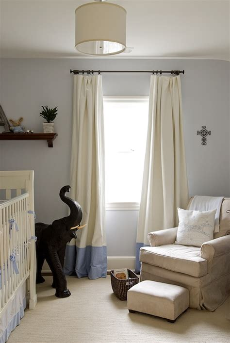 gray walls white curtains banded drapes design ideas