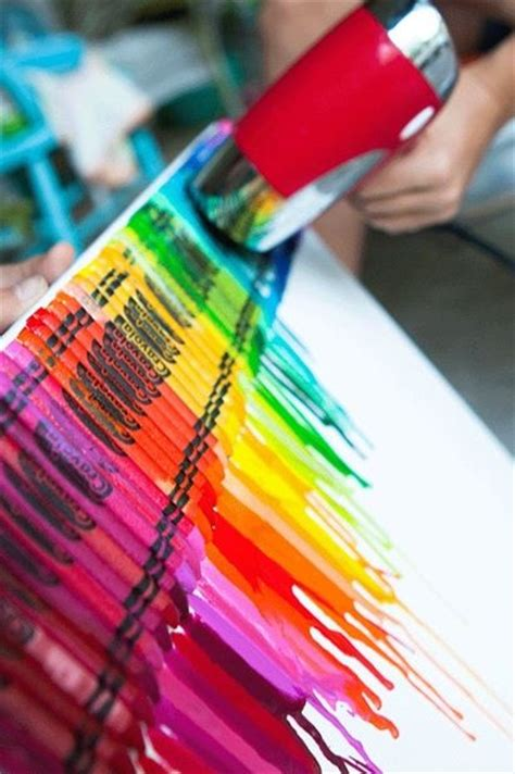 Crayon And Hairdryer use a hair dryer to melt crayons a poster board for