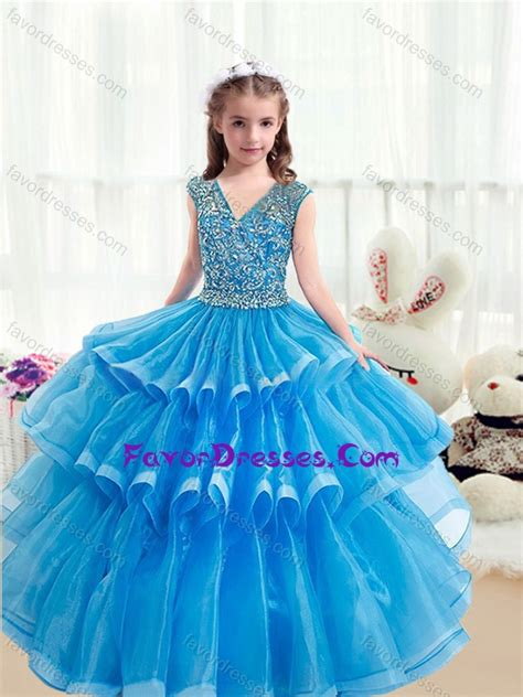 pretty  neck baby blue  girl pageant dresses