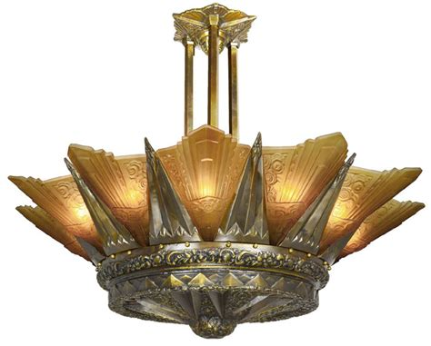 antique reproduction glass l shades french marseille 12 light art deco slip shade chandelier